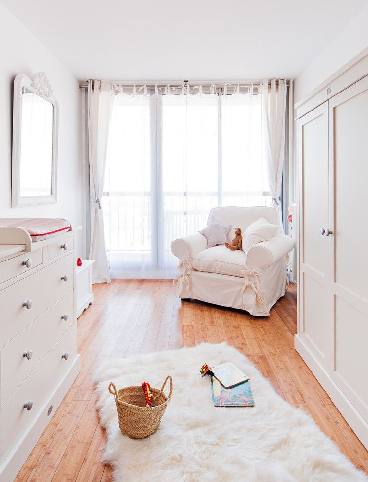 Redi Floors for a Farmhouse Nursery with a Commode Blanche and Chambre De Bébé Toute Blanche by Marion Alberge Décoration