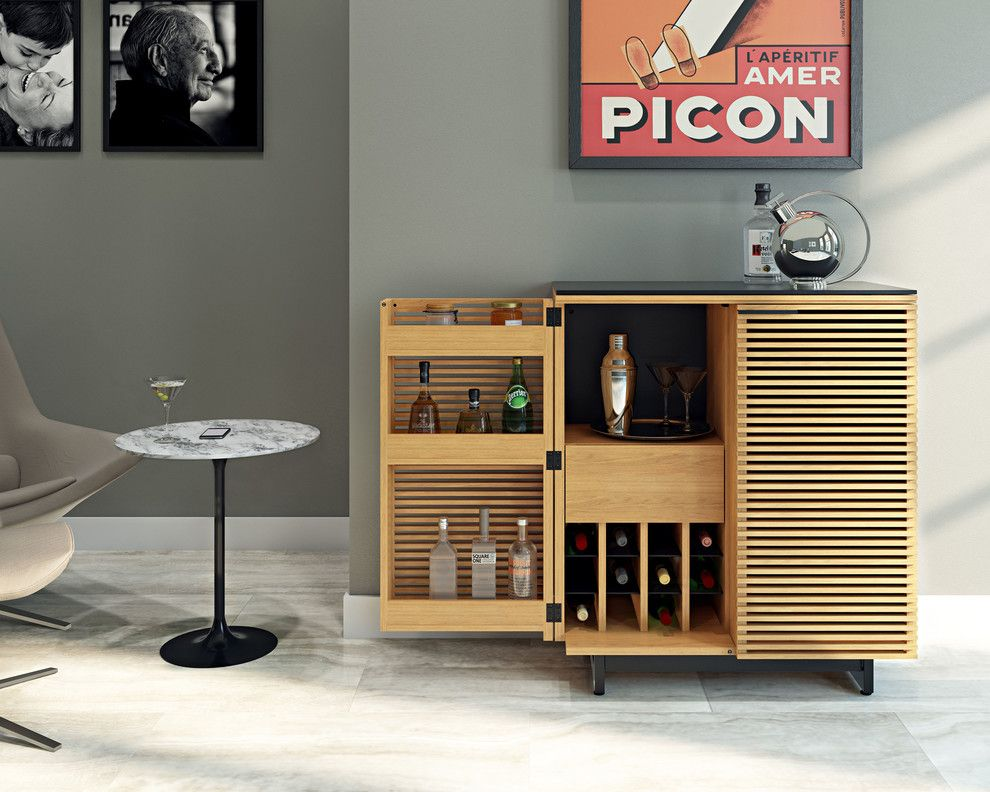 Refinished Furniture for a Contemporary Home Bar with a Liquor Cabinet and Bdi Furniture by Bdi Furniture