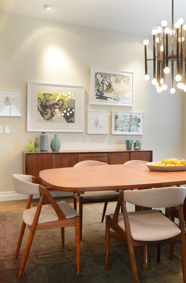 Refinished Furniture for a Midcentury Dining Room with a Wooden Dining Table and Jersey Street by Walls by Design Inc