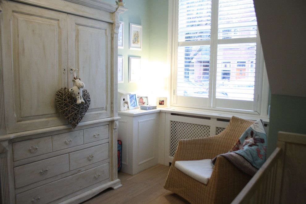 Refinished Furniture for a Traditional Nursery with a Blinds and Houzz Tour: Cheerful Family Home Shines with Vintage Touches by Holly Marder