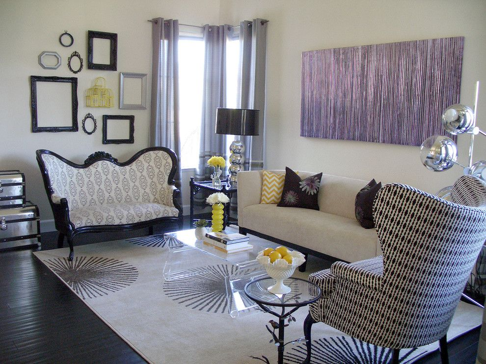 Refinished Furniture for a Transitional Living Room with a Mirror Ball Lamp and Living Room by Nina Jizhar