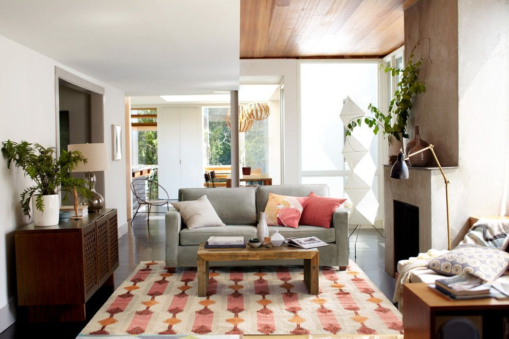 Regency Fireplace for a Contemporary Living Room with a Asian Inspired and West Elm by West Elm