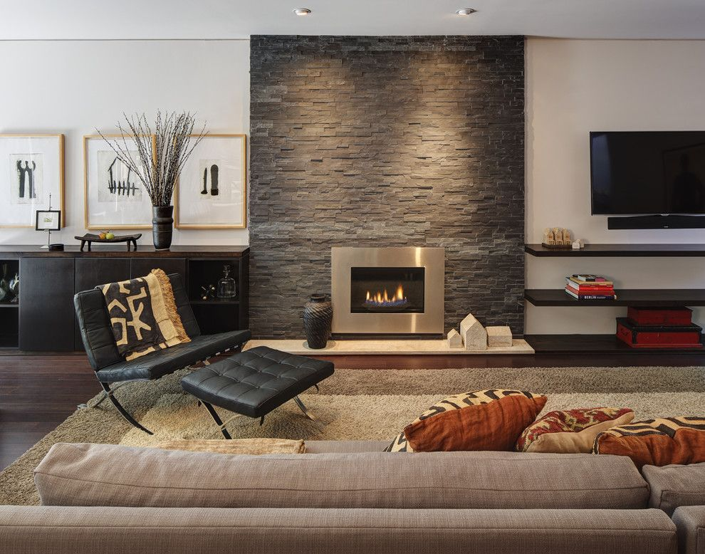 Regency Fireplace for a Contemporary Living Room with a Black Leather Ottoman and Midvale Courtyard House by Bruns Architecture
