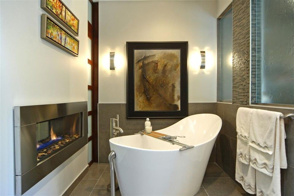 Regency Fireplace for a Modern Bathroom with a Mosaic and Modern Tranquility by a Collaborative Design Group
