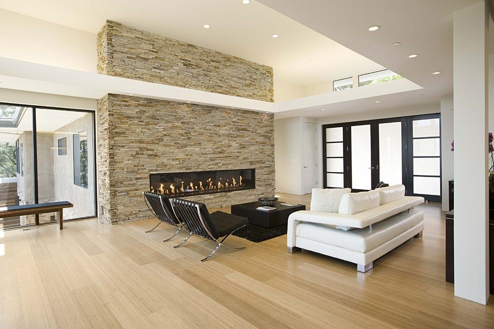 Regency Fireplace for a Modern Living Room with a Recessed Lighting and Great Room by Mark English Architects, Aia