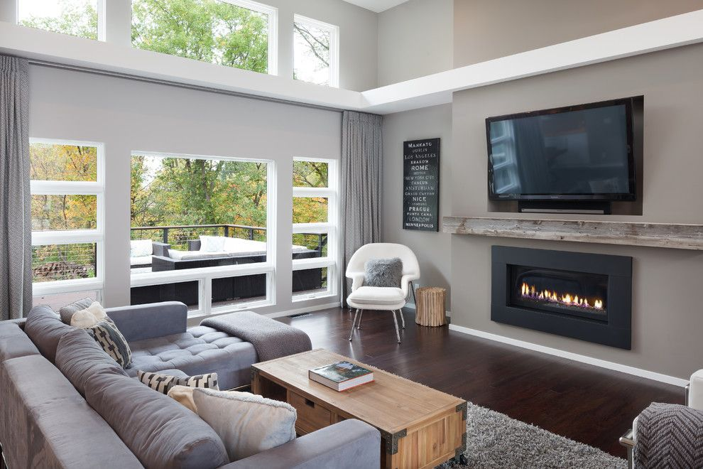 Regency Fireplaces for a Contemporary Living Room with a White Soffit and Modern Living Room in North Mankato, Mn by Jordan Powers