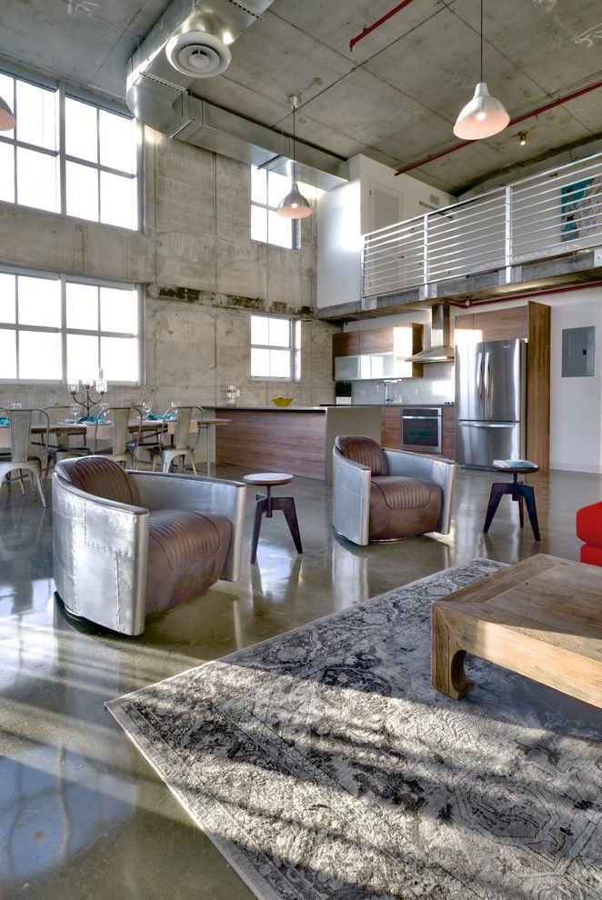 Ren Wil for a Industrial Living Room with a Loft and Filling Station Lofts by Danna B Interiors, Llc