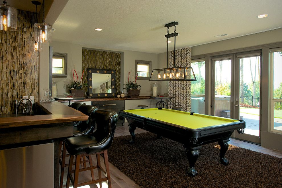 Ren Wil for a Transitional Family Room with a Game Room and 'The Columbia' Residence by Urban I.d. Interior Design Services