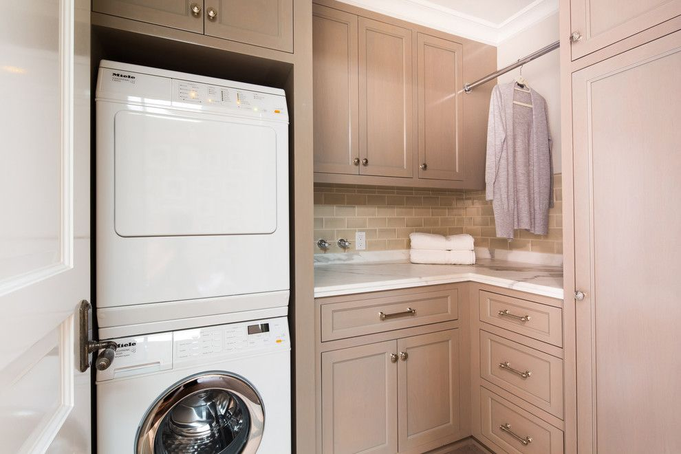 Republic Plumbing Supply for a Traditional Laundry Room with a Bar Pulls and Elegant Townhome in Pasadena by Charmean Neithart Interiors, Llc.