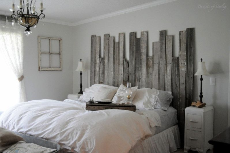 Repurposed Pallets for a Eclectic Bedroom with a Rustic and Rustic Headboard by Buckets of Burlap