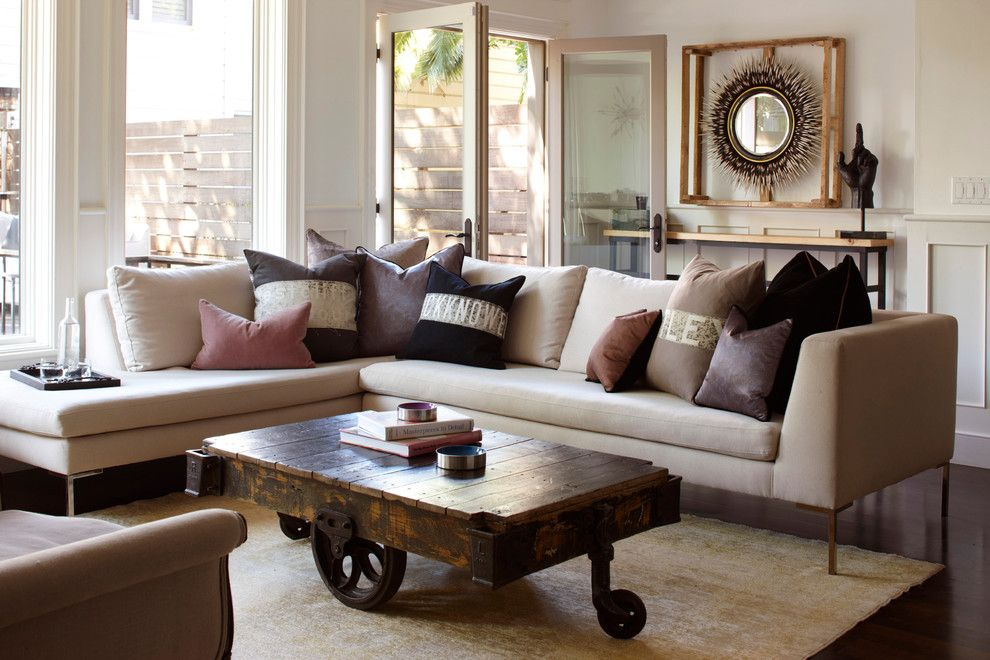 Repurposed Pallets for a Eclectic Living Room with a Round Mirror and Noe Valley Residence by Geremia Design