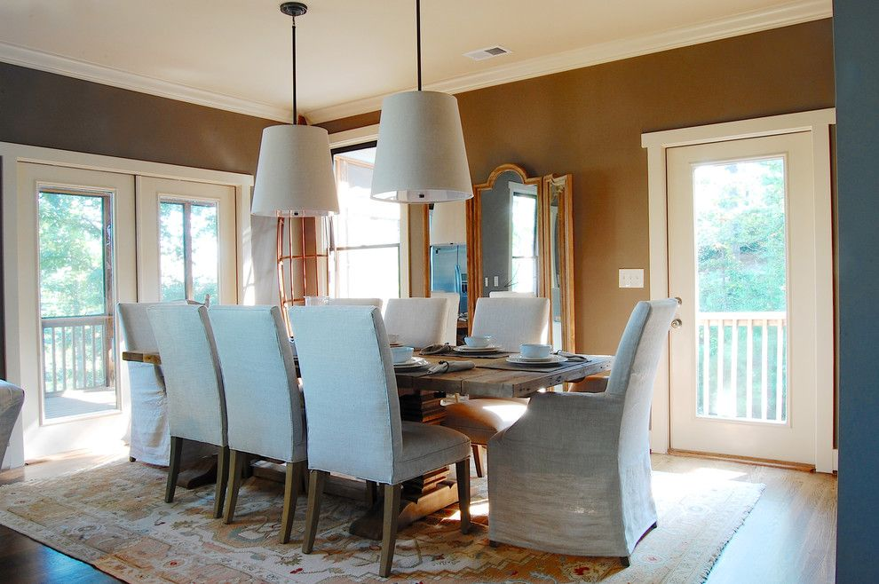 Restoration hardware.com for a Beach Style Dining Room with a Light Gray Dining Chairs and My Houzz: Whitley Lake House by Corynne Pless