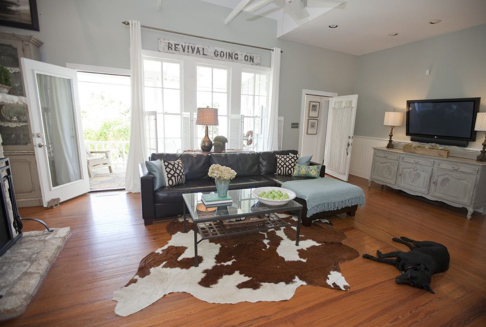 Restoration Hardware Paint for a Farmhouse Living Room with a Leather Sofa and Austin Modern Farmhouse by Van Wicklen Design