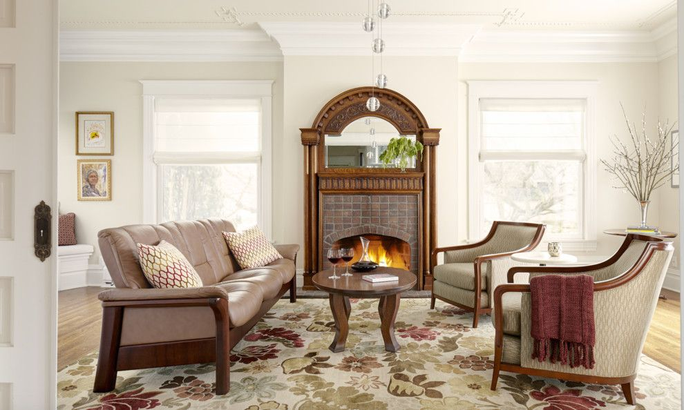 Restoration Hardware Paint for a Traditional Living Room with a Scandinavian Furniture and Victorian Eclectic Living Room with Wood Burning Fireplace by Stressless