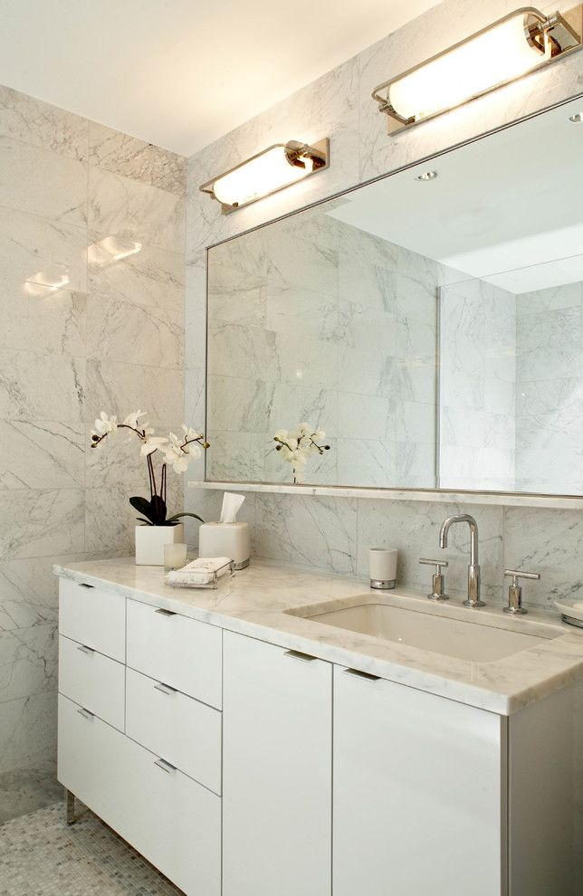 Retro Renovation for a Contemporary Bathroom with a Widespread Faucet and Lower East Side Contemporary Renovation + Interior Design by B Moore Design, Inc.
