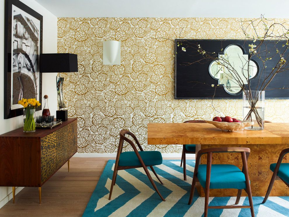 Reupholstered for a Contemporary Dining Room with a Dark Teal and 87th Street Dining Room by Incorporated