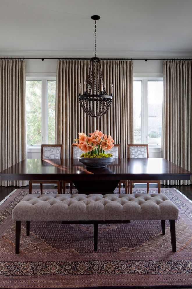 Reupholstered for a Transitional Dining Room with a Pleated Curtains and Hinsdale Greek Revival by Buckingham Interiors + Design Llc