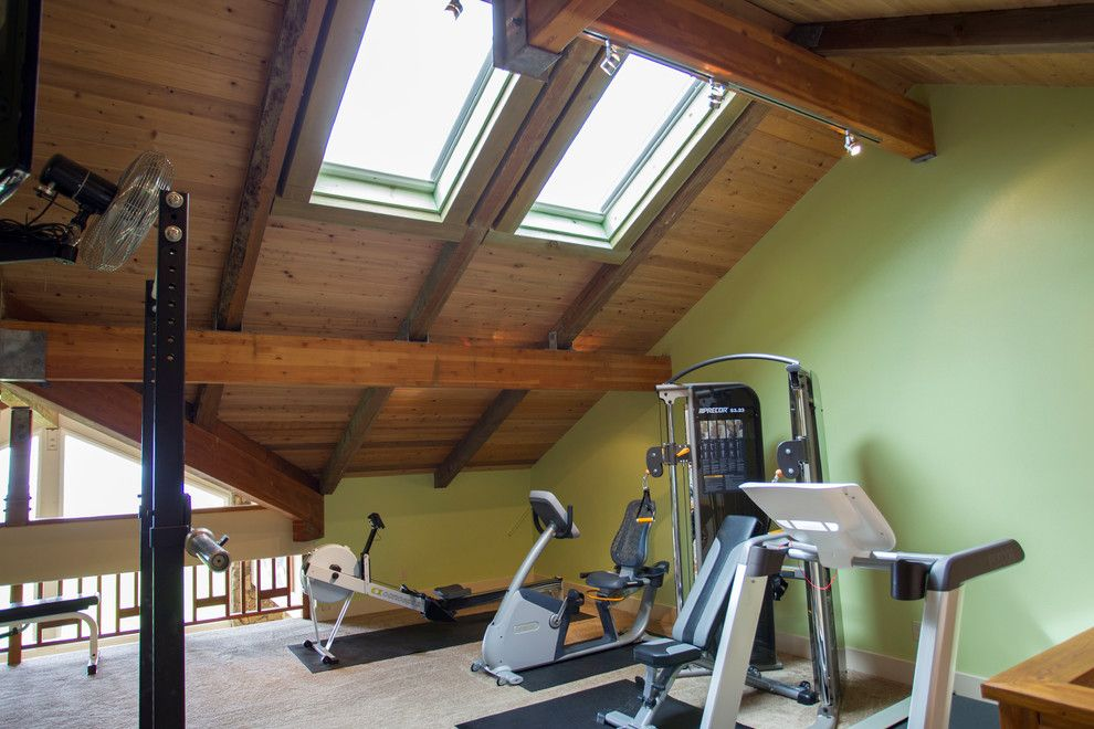 Reuse Hawaii for a Transitional Home Gym with a Skylight and Wavecrest Waikii Renovations by Paul M. Donoho, Architect