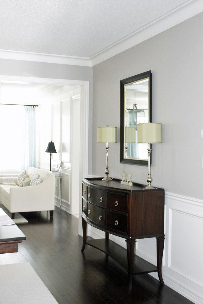 Revere Pewter Benjamin Moore for a Contemporary Dining Room with a Dining Room Wainscoting and Dining Room by Am Dolce Vita