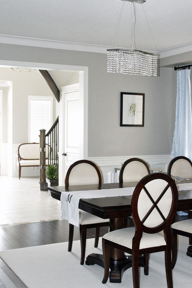 Revere Pewter Benjamin Moore for a Contemporary Dining Room with a Mirrored Chest and Dining Room by Am Dolce Vita