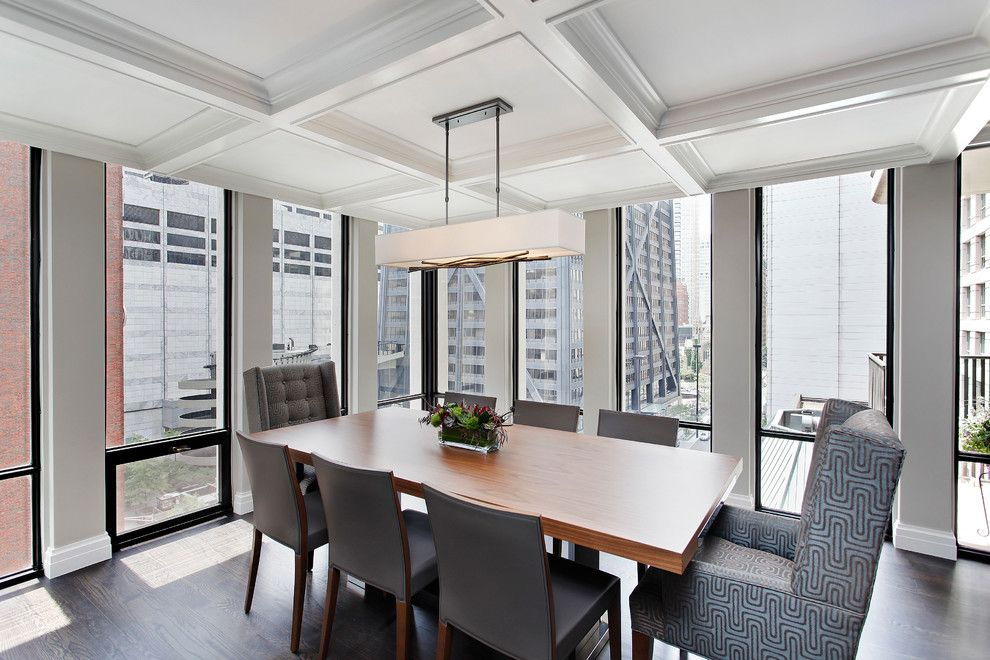 Revere Pewter Benjamin Moore for a Contemporary Dining Room with a Pilasters and Downtown High Rise by 2 Design Group