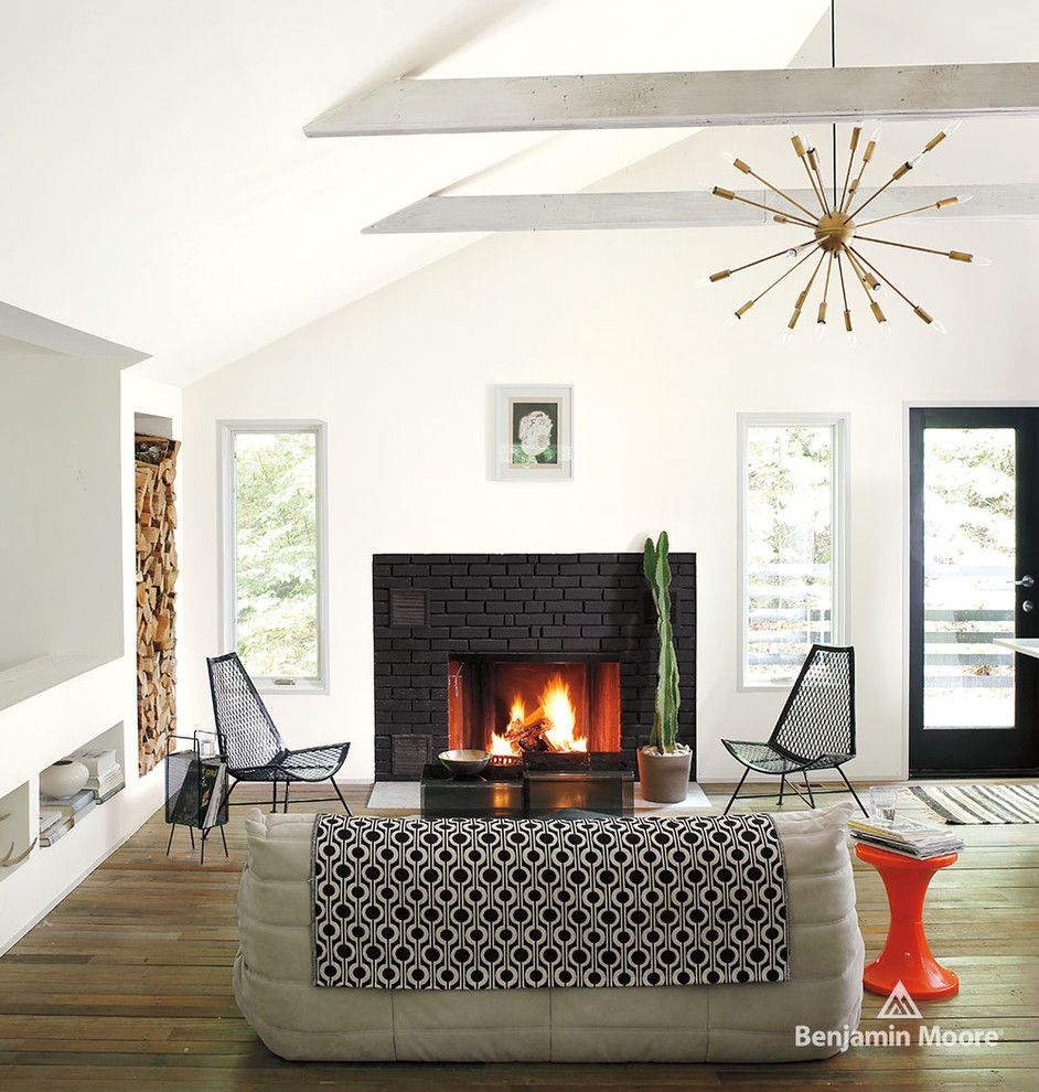 Revere Pewter Benjamin Moore for a Contemporary Living Room with a Black Painted Brick and Benjamin Moore by Benjamin Moore