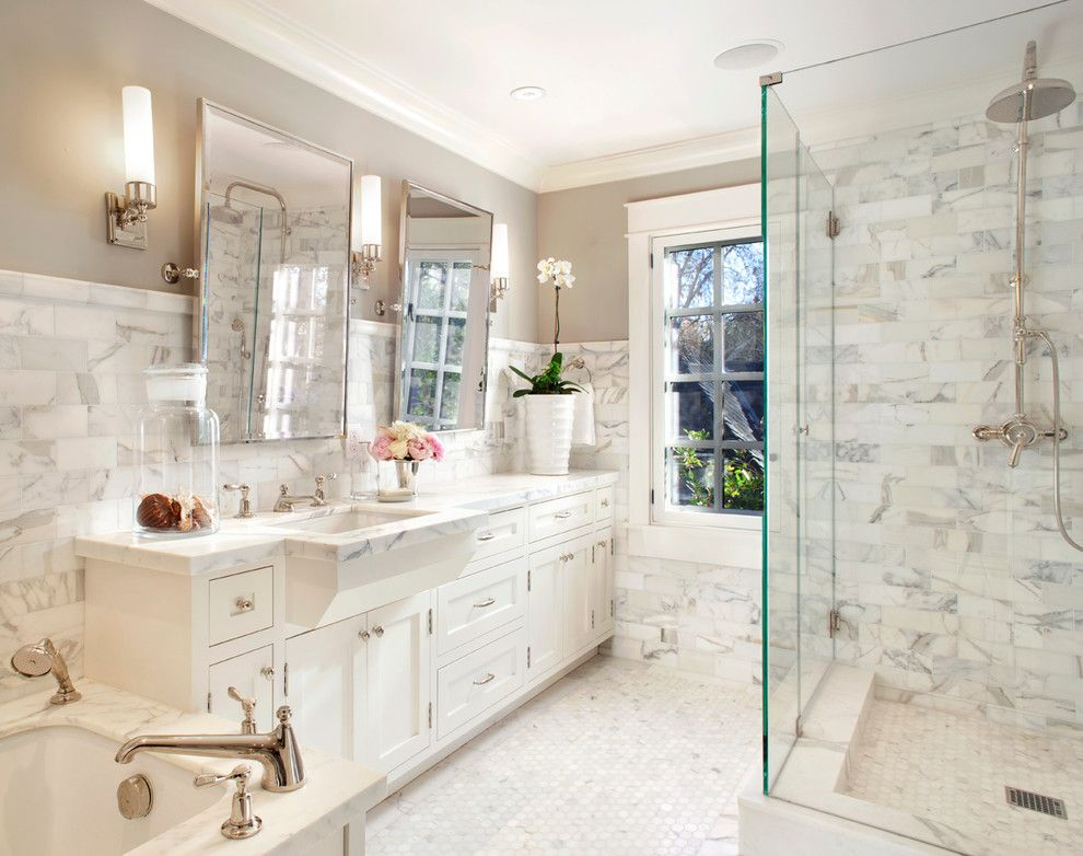 Revere Pewter Benjamin Moore for a Traditional Bathroom with a Shower and Palo Alto Traditional by Scavullodesign Interiors