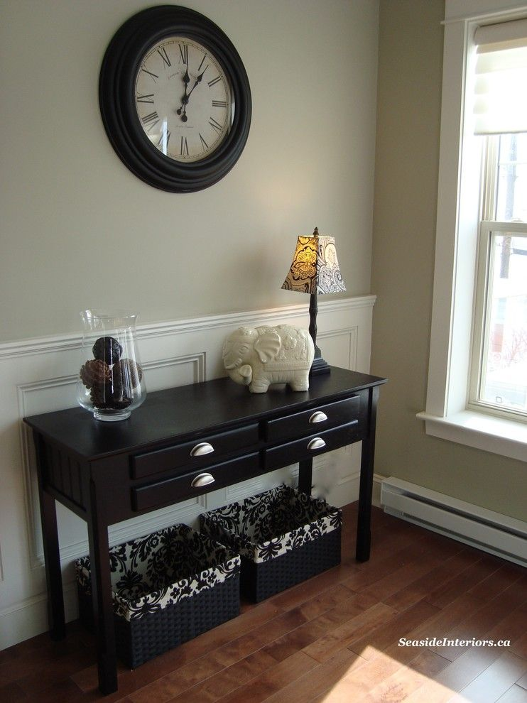 Revere Pewter Benjamin Moore for a Traditional Living Room with a Fresh and Classic Black and White Living Room by Seaside Interiors