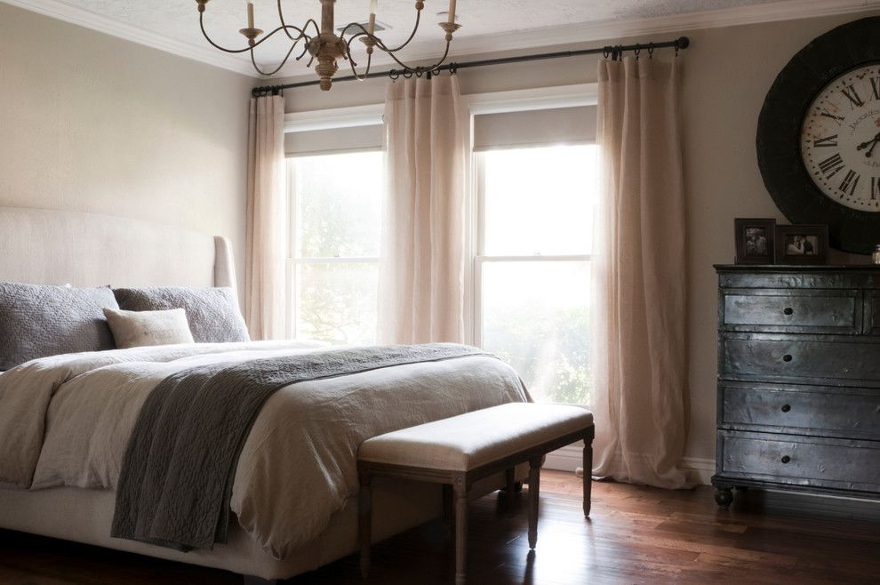 Revere Pewter Benjamin Moore for a Transitional Bedroom with a Beige Drapes and My Houzz: Gurfinkel by Angela Flournoy