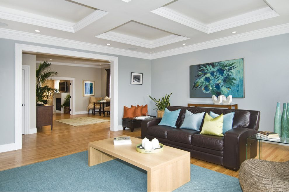 Revere Pewter Benjamin Moore for a Transitional Family Room with a Coffered Ceiling and Commodore House by J K Construction