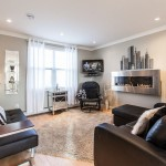 Revere Pewter for a Contemporary Living Room with a Black Leather Sofa and My Houzz: Open Concept Apartment Above Retail in Downtown St. John's by Becki Peckham