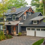 Revere Pewter for a Rustic Exterior with a Dark Blue Siding and Lake George Retreat by Phinney Design Group