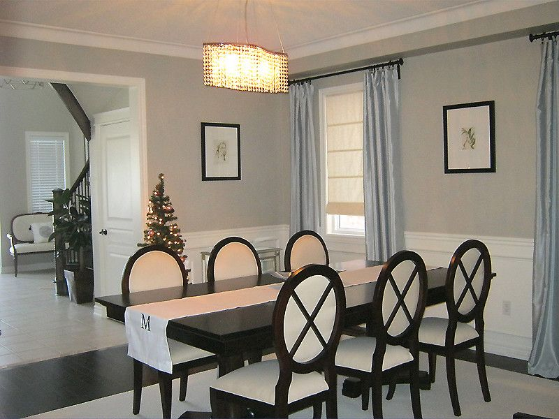 Revere Pewter Paint for a Contemporary Dining Room with a Wainscoting and Dining Room by Am Dolce Vita