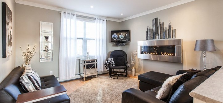 Revere Pewter Paint for a Contemporary Living Room with a Gray Wall and My Houzz: Open Concept Apartment Above Retail in Downtown St. John's by Becki Peckham
