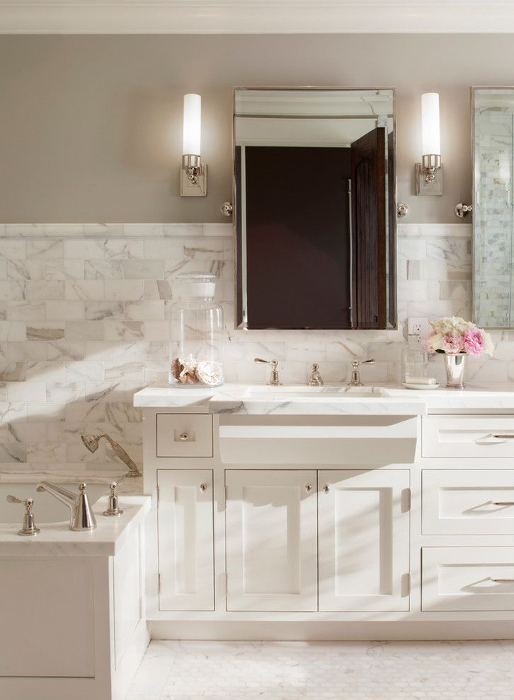 Revere Pewter Paint for a Traditional Bathroom with a White and Palo Alto Traditional by Scavullodesign Interiors