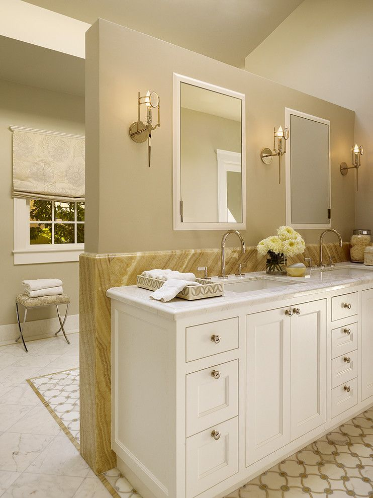 Revere Pewter Paint for a Transitional Bathroom with a White Shaker Panel Cabinets and Palo Alto Residence by Melanie Coddington