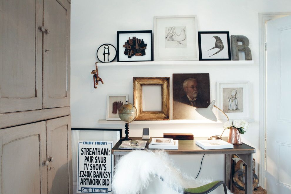 Ribba Picture Ledge for a Eclectic Home Office with a Sheepskin and Creative Spaces by Geraldine James by Ryland Peters & Small | Cico Books