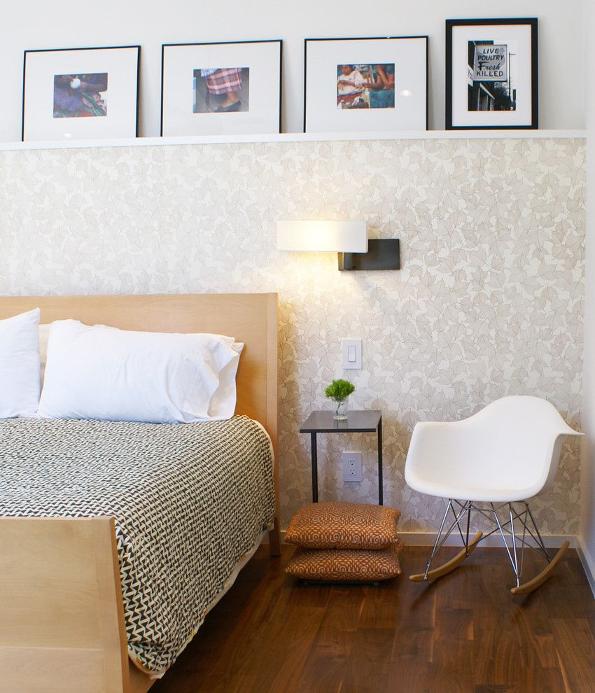 Ribba Picture Ledge for a Modern Bedroom with a Wall Lamp and Vance Lane Modern Home by Slic Interiors