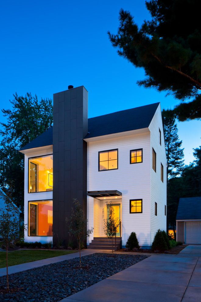 Richlite for a Transitional Exterior with a White House and 2012 Remodelers Showcase by Quartersawn Design Build