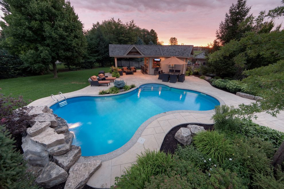 Rising Sun Pools for a Contemporary Pool with a Grass and Spacious Outdoor Living by Betz Pools Limited