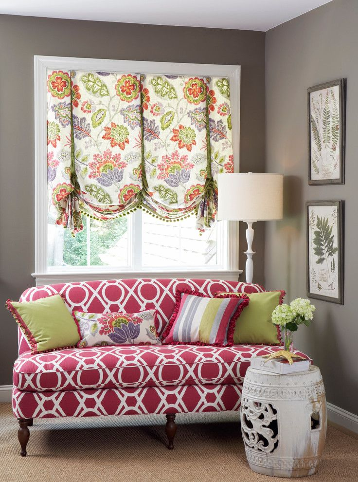 Robert Allen Fabrics for a Contemporary Family Room with a Custom Sofa and Contemporary Family Room by Calicocorners.com