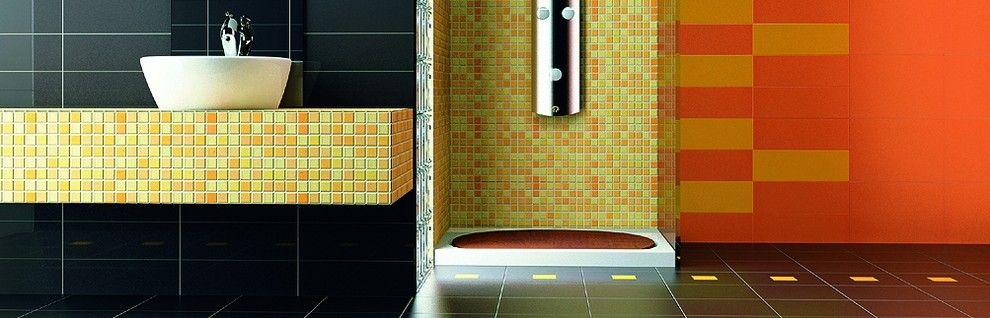 Roca Tile for a Modern Bathroom with a Colored Tile and Roca Tile by Timeless Interiors