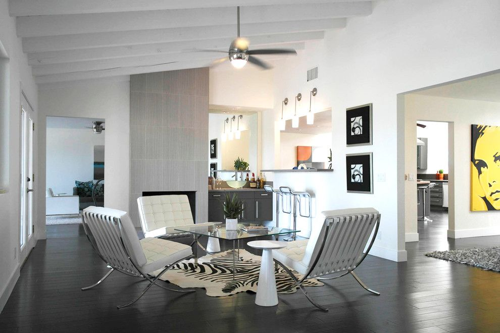 Roca Tile for a Modern Living Room with a Glass Coffee Table and Milo Drive by Ndc Homes, Inc.