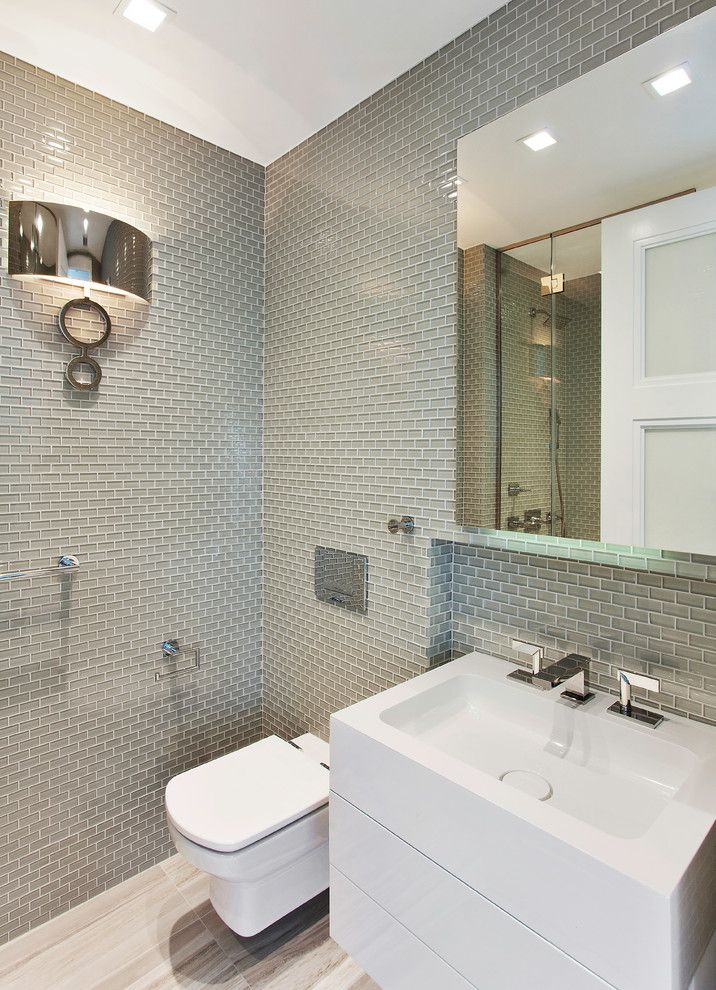 Roca Tile for a Transitional Bathroom with a Gut Renovation and Dumbo Apartment by Ins Contractors