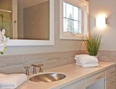 Roma Tile for a Contemporary Bathroom with a Wall Sconce and Albany Bathroom Designs by Hudson Valley Design