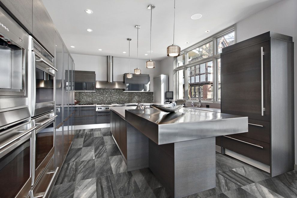 roma tile for a contemporary kitchen with a black kitchen and