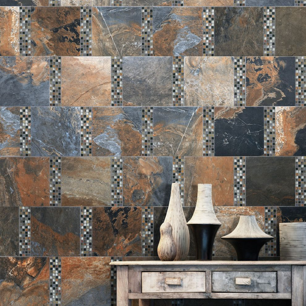 Roma Tile for a Contemporary Living Room with a Contemporary and Bengal Sierra Glass Blend Tile by Roma Tile Supply