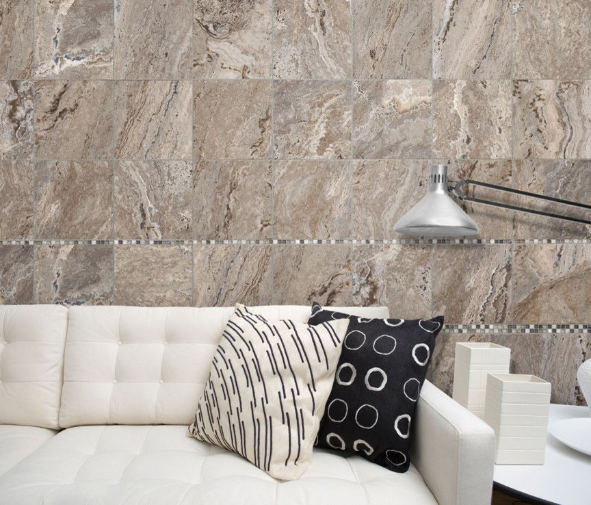 Roma Tile for a Contemporary Living Room with a Wall Floor Tiles and 12x12 Antico Walnut Tile by Roma Tile Supply
