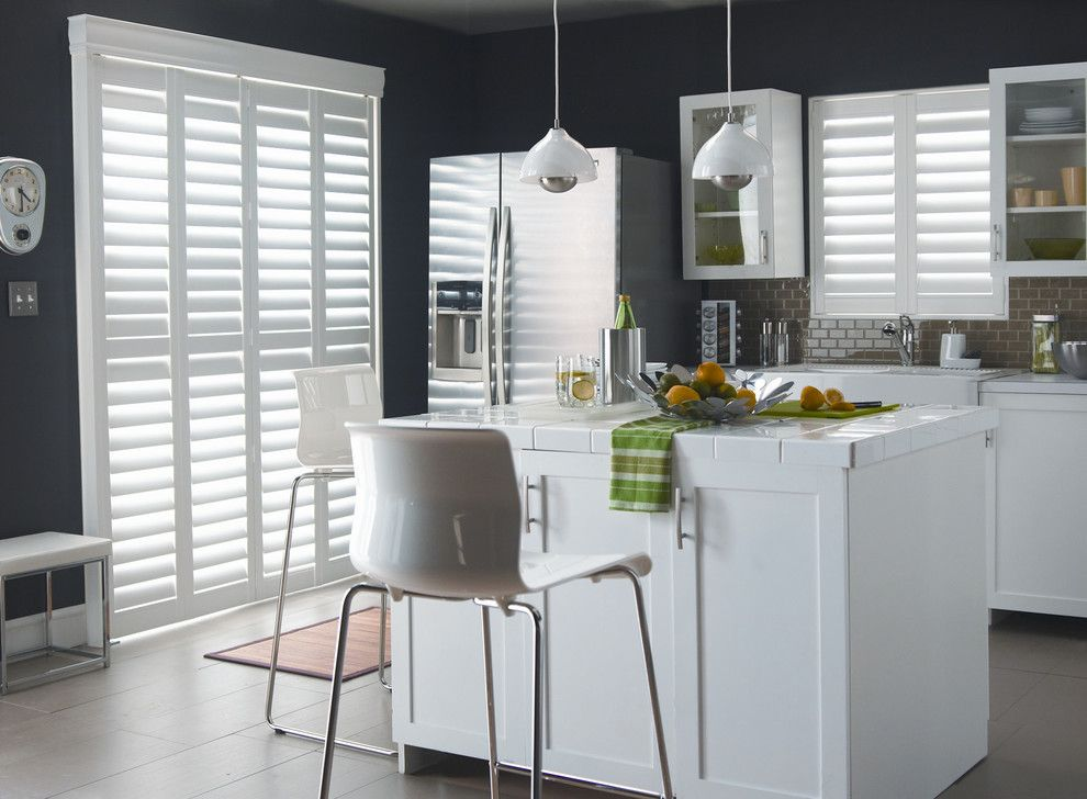 Roma Tile for a Modern Kitchen with a Kitchen and Polysatin Shutters by Budget Blinds