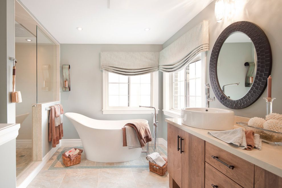 Roman Tub for a Contemporary Bathroom with a Above Counter Sink and Portfolio by Heer's Paint and Decor